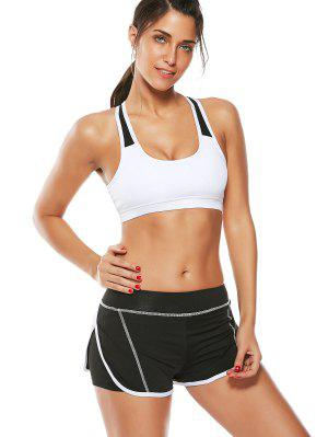 Strappy Padding Sports Bra Et Layer Running Shorts - Blanc S