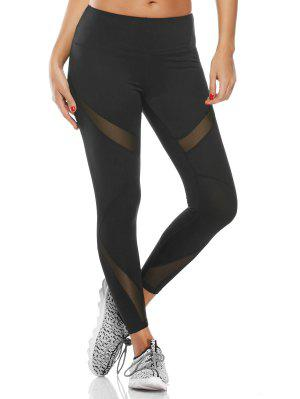 Midi Waist Capri Mesh Panel Workout Leggings - Black S