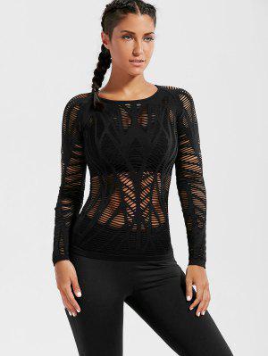 Long Sleeve Sheer Ripped Sports T-shirt - Black S