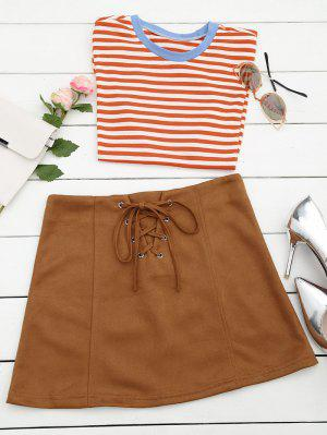 Lace Up Faux Suede Mini Skirt - Coffee M