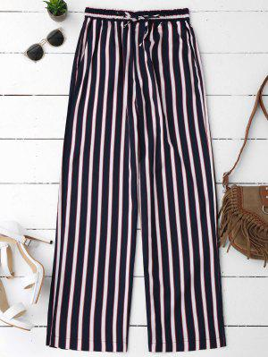 Elastic Waist Striped Wide Leg Pants - Stripe L