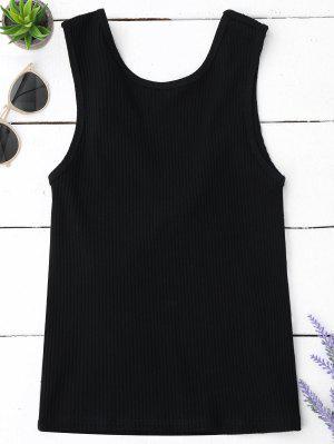 Camiseta De Corte Recortada Con Punto De Punto - Negro S