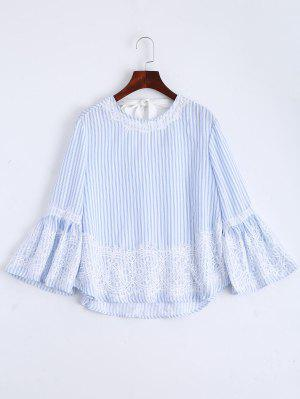 Flare Sleeve Stripes Lace Panel Blouse - Stripe L