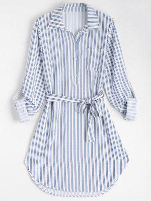 Vestido de camisa de manga larga a rayas con cinturón
