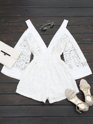 Plunging Neck Cold Shoulder Hollow Out Romper - White S