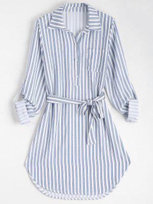 Belted Striped Long Sleeve Shirt Dress