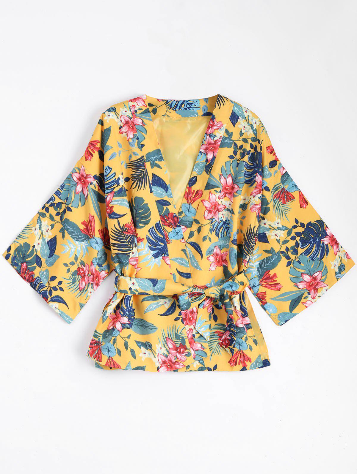 Kimono Bluse Mantel mit Grtel und Blumendruck