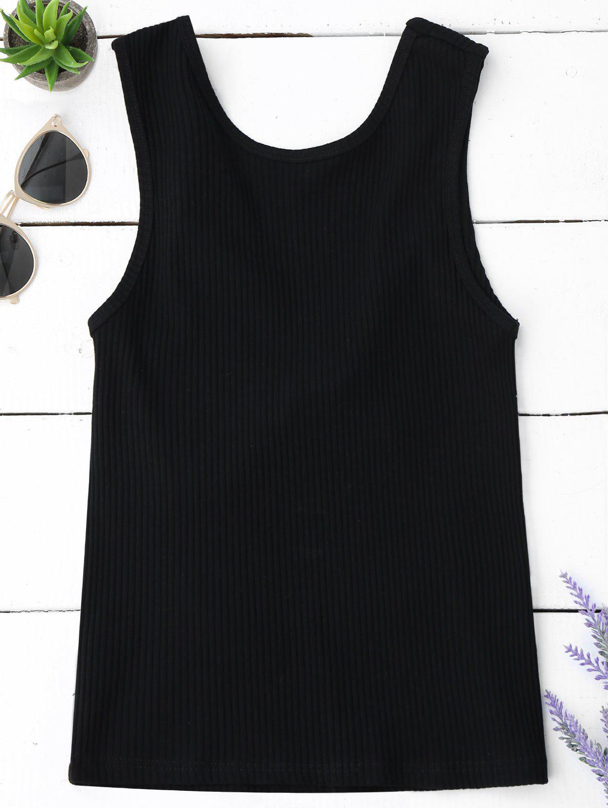 Knitted Ribbed Cut Out Tank Top 218018509