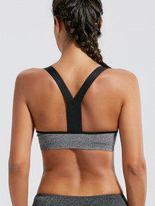 Padded Seamless Workout Bra - Gray L