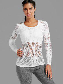 Long Sleeve Sheer Ripped Sports T-shirt - White L