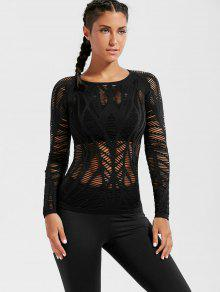 Long Sleeve Sheer Ripped Sports T-shirt - Black S