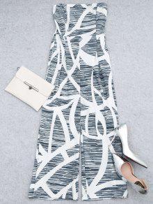مطبوعة حمالة واسعة الساق بذلة - أبيض Xl
