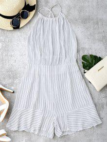 Open Back Striped Spaghetti Strap Romper - White L