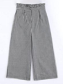 Plaid Ruffles Wide Leg Pants - Checked L