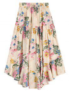 Ruffles Floral Drawstring Midi Skirt - Floral L