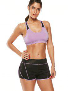 Strappy Padded Sports Bra And Layer Running Shorts - Purple S