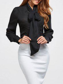 بلوزة ربطة الرقبة - أسود M