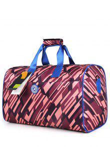Nylon Printed Gym Bag - Purplish Red