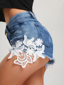 Ripped Frayed Hem Denim Mini Shorts - Azul M