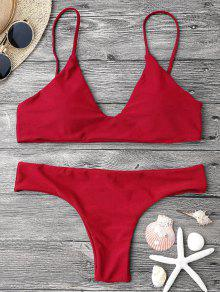 Adjustable Straps Padded Bralette Bikini Set - Red L