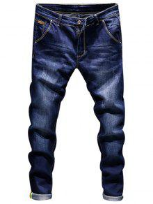 Ripped Zip Fly Skinny Jeans - Azul Escuro 34