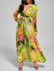 فستان ماكسي شيفون مع أكمام الرقبة V - أخضر Xl