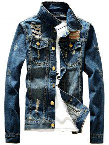 جاكيت دانيم تصميم جيب الجبهة - ازرق Xl