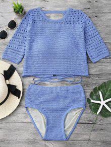Padded Crochet Crop Top and Bikini Bottoms