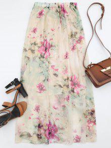 الأزهار طباعة عالية الخصر تنورة ماكسي - الأزهار L