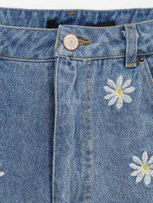 zerrissene denim shorts mit g nsebl mchen stickereien. Black Bedroom Furniture Sets. Home Design Ideas