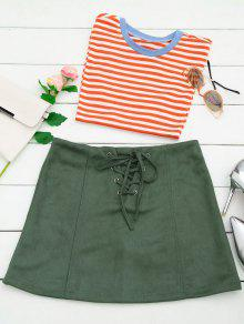 Lace Up Faux Suede Mini Skirt - Army Green S