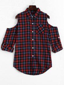 Button Up Cold Shoulder Checked Blouse - Checked M