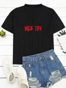 Loose Choker Letter T-Shirt - Black L