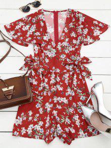 Bowknot Floral Chiffon Romper - Red M