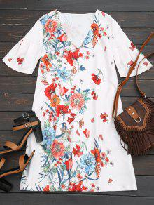 Butterfly Sleeve Floral Shift Dress - Floral L