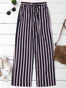 Pantalon Large à Rayures Taille Élastique - Rayure L