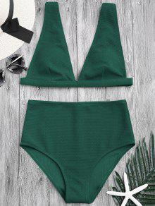 Textured Plunge High Waisted Bikini Set - Green L