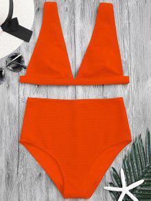 Textured Plunge High Waisted Bikini Set - Orange L