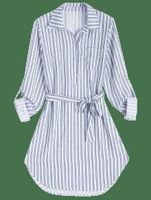 De Manga L Cintur Con 243;n Larga De Raya A Camisa Vestido Rayas qtdH6t