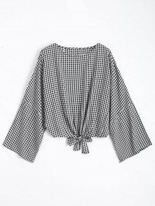 Round Neck Plaid Front Tied Blouse - Checked M