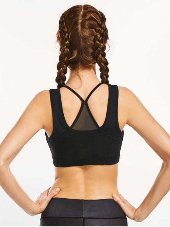 affordable Mesh Panel Full Cup Padded Sporty Bra - BLACK L