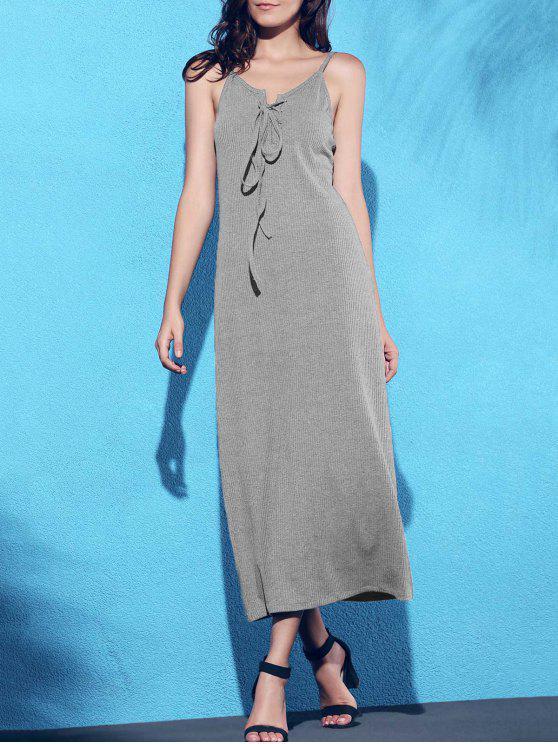 فستان الرباط حزام السباغيتي لون الصلبة - رمادي M