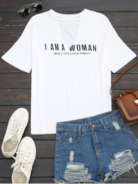 lady Loose Letter Cut Out T-Shirt - WHITE S