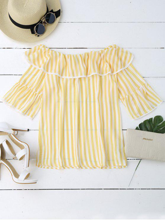 Overlay volantes de la blusa del hombro - Amarillo S