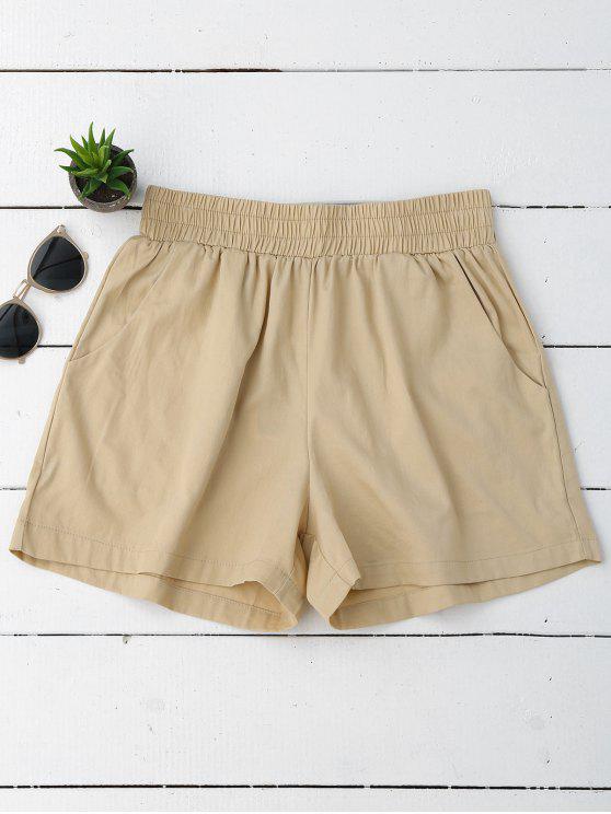 Pantalones cortos ocasionales de alta cintura - Caqui L