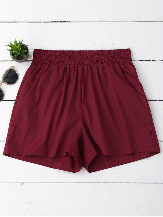 Pantalones cortos ocasionales de alta cintura - Vino Rojo S
