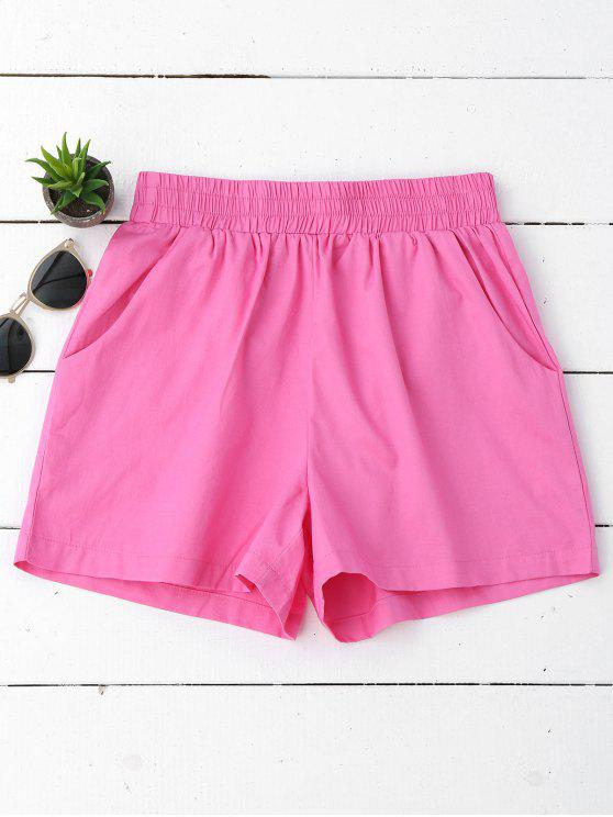 affordable Casual High Waisted Shorts - PINKISH PURPLE M