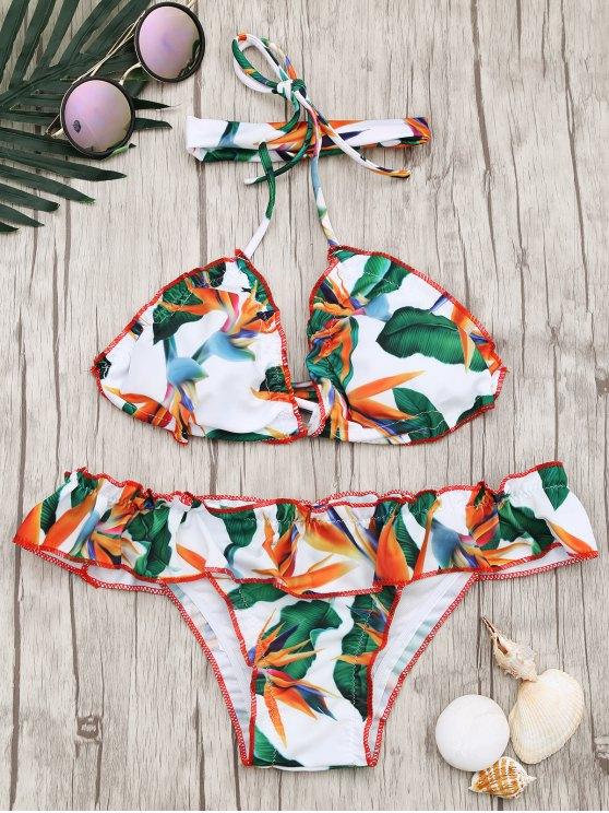 womens Frilled Padded Printed Choker Bikini Set - MULTICOLOR L