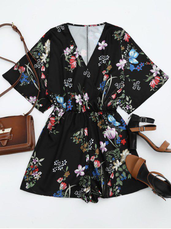 Cintura elástica Kimono Floral Romper - Negro L