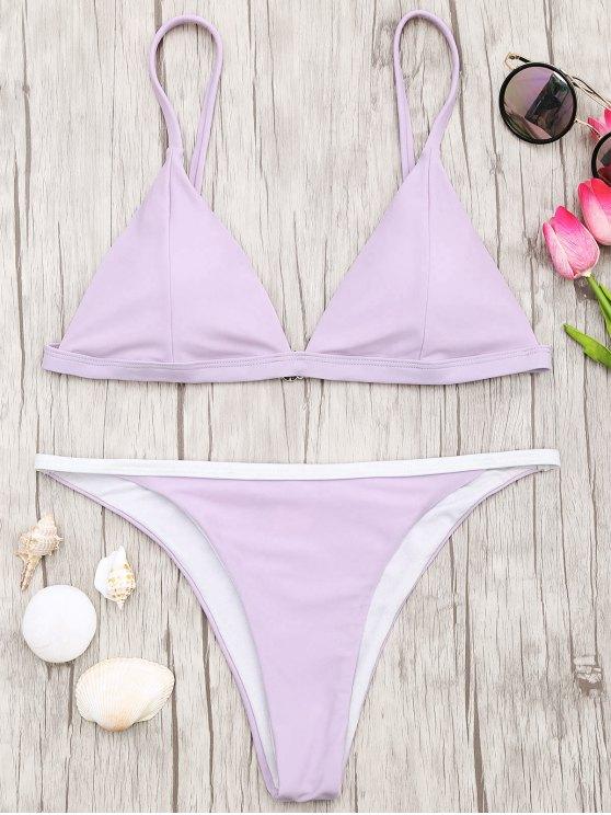 fancy Soft Pad Bikini Top and Tanga Bottoms - PURPLE S